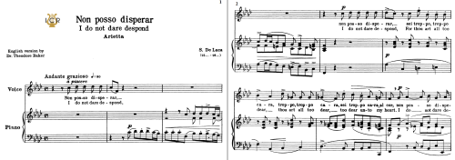 First Additional product image for - Non posso disperar, High Voice in F Minor, G.M.Bononcini. For Soprano, Tenor. Tablet Sheet Music. A5 (Landscape). Schirmer (1894)