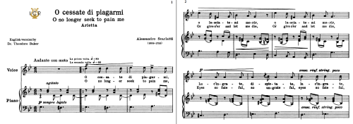 First Additional product image for - O cessate  di piagarmi, High Voice in G Minor, A Scarlatti. For Soprano, Tenor. Tablet Sheet Music. A5 (Landscape). Schirmer (1894)