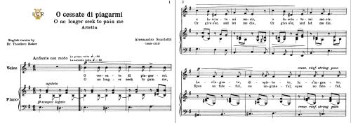 First Additional product image for - O cessate di piagarmi, Low Voice in E Minor, A.Scarlatti. For Mezzo, Baritone. Schirmer (1894). Tablet Sheet Music. A5 (Landscape).