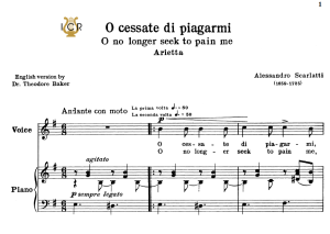 o cessate di piagarmi, low voice in e minor, a.scarlatti. for mezzo, baritone. schirmer (1894). tablet sheet music. a5 (landscape).