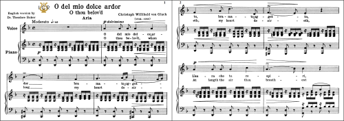 First Additional product image for - O del mio dolce ardor, Low Voice in D Minor, C.W.Gluck. For Contralto, Bass. Tablet Sheet Music. A5 (Landscape). Schirmer (1894)