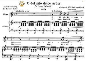 O del mio dolce ardor, Low Voice in D Minor, C.W.Gluck. For Contralto, Bass. Tablet Sheet Music. A5 (Landscape). Schirmer (1894) | eBooks | Sheet Music