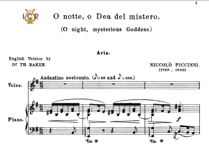 O notte dea del mister, Medium-Low Voice in E Minor, Niccolò Piccini. For Mezzo, Baritone. Tablet Sheet Music. A5 (Landscape). Schirmer (1894) | eBooks | Sheet Music