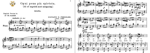 First Additional product image for - Ogni pena più spietata, Medium-Low Voice in A Minor, G.B.Pergolesi. Tablet Sheet Music. A5 (Landscape). Schirmer (1894)