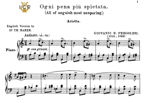 ogni pena più spietata, medium-low voice in a minor, g.b.pergolesi. tablet sheet music. a5 (landscape). schirmer (1894)