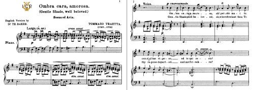 First Additional product image for - Ombra cara, amorosa; High Voice in E Minor, T.Traetta. For Soprano, Tenor. Tablet Sheet Music A5 (Landscape). Schirmer (1894)