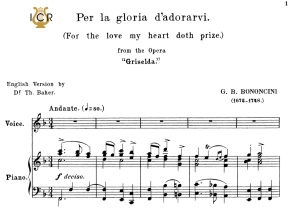 per la gloria d'adorarvi, medium voice in f major, g.m.bononcini. for soprano, tenor. tablet sheet music. a5 (landscape). schirmer (1894)