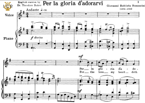 per la gloria d'adorarvi, high voice in g major, g.b.bononcini. tablet sheet music. a5 (landscape). schirmer (1894)