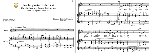 First Additional product image for - Per la gloria d'adorarvi, Low Voice in D Major, G.B.Bononcini. For Contralto, Bass. Tablet Sheet Music. A5 (Landscape). Schirmer (1894)
