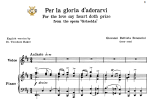 Per la gloria d'adorarvi, Low Voice in D Major, G.B.Bononcini. For Contralto, Bass. Tablet Sheet Music. A5 (Landscape). Schirmer (1894) | eBooks | Sheet Music