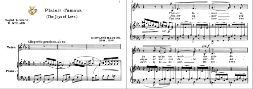First Additional product image for - Plaisir d'amour, Low or Medium Voice in E Flat Major (original key), J.P.Martini. For Soprano, Mezzo. Tablet Sheet Music. A5 (Landscape). Schirmer (1894)