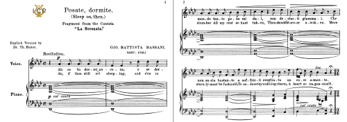 First Additional product image for - Posate,dormite, Medium Voice in A Flat Major, G.B.Bassani. For Mezzo, Baritone. Tablet Sheet Music. A5 (Landscape). Schirmer (1894)