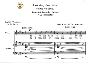 posate,dormite, medium voice in a flat major, g.b.bassani. for mezzo, baritone. tablet sheet music. a5 (landscape). schirmer (1894)