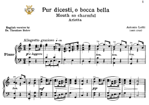 pur dicesti, low voice in c major, a.lotti. for contralto, bass.  tablet sheet music. a5 (landscape). schirmer (1894)