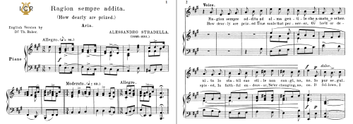 First Additional product image for - Ragion sempre addita, High Voice in A Major, A. Stradella. For Soprano, Tenor. Tablet Sheet Music. A5 (Landscape).  Schirmer (1894)
