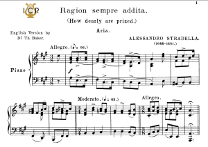 ragion sempre addita, high voice in a major, a. stradella. for soprano, tenor. tablet sheet music. a5 (landscape).  schirmer (1894)