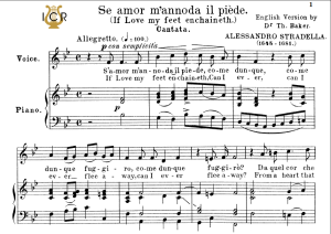 se amor m'annoda, medium voice in b flat major, a.stradella. for mezzo, baritone. tablet sheet music. a5 (landscape). schirmer (1894)