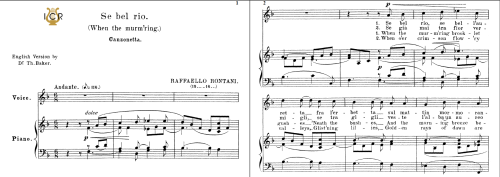 First Additional product image for - Se bel rio, Medium Voice in F Major, R.Rontani. For Mezzo, Baritone. Tablet Sheet Music. A5 (Landscape). Schirmer (1894)