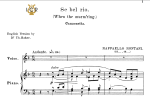 Se bel rio, Medium Voice in F Major, R.Rontani. For Mezzo, Baritone. Tablet Sheet Music. A5 (Landscape). Schirmer (1894) | eBooks | Sheet Music