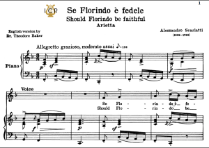 Se Florindo è fedele, Low Voice in F Major, A.Scarlatti. For Contralto, Bass. Tablet Sheet Music. A5 (Landscape). Schirmer (1894) | eBooks | Sheet Music