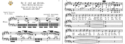 First Additional product image for - Se il ciel mi divide, Medium Voice in D Minor, N.Piccini. For Mezzo, Baritone. Tablet Sheet Music. A5 (Landscape). Schirmer (1894)