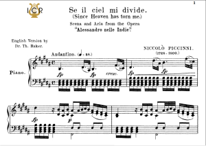 se il ciel mi divide, medium voice in d minor, n.piccini. for mezzo, baritone. tablet sheet music. a5 (landscape). schirmer (1894)