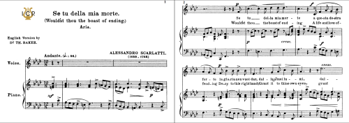 First Additional product image for - Se tu della mia morte, Low Voice in F Minor, A.Scarlatti. For Contralto, Bass. Tablet Sheet Music. A5 (Landscape).   Schirmer (1894)