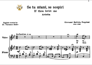 Se tu m'ami, High Voice in G Minor, G.B.Pergolesi. For Soprano, Tenor.  Tablet Sheet Music. A5 (Landscape). Schirmer (1894) | eBooks | Sheet Music