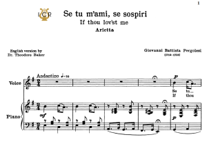 se tu m'ami, medium-low voice in e minor, g.b.pergolesi. for contralto, bass. tablet sheet music. a5 (landscape). schirmer (1894)