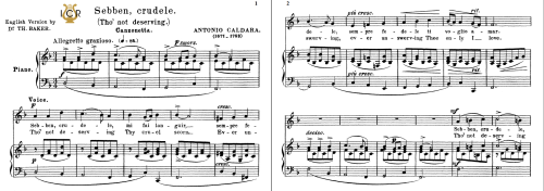 First Additional product image for - Sebben crudele, Medium Voice in D Minor, A.Caldara. For Mezzo, Baritone. Tablet Sheet Music. A5 (Landscape).  Schirmer (1894).