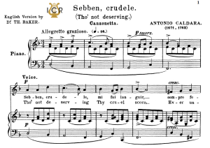 Sebben crudele, Medium-Low Voice in D Minor, A.Caldara. For Mezzo, Baritone. Tablet Sheet Music. A5 (Landscape).  Schirmer (1894). | eBooks | Sheet Music