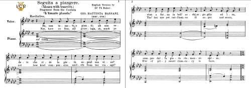 First Additional product image for - Seguita a piangere, Medium Voice in F Minor, G.B.Bassani. For Mezzo, Baritone. Tablet Sheet Music. A5 (Landscape). Schirmer (1894)