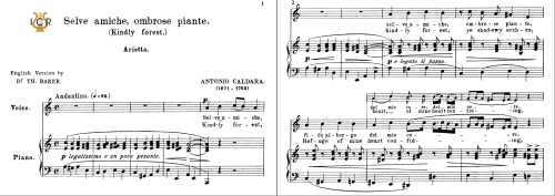 First Additional product image for - Selve amiche, Medium Voice in A Minor, A.Caldara. For Soprano, High Soprano, Tenor, Lyric Baritone. Tablet Sheet Music. A5 (Landscape). Schirmer (1894)