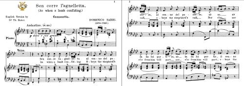 First Additional product image for - Sen corre l'agnelletta, Medium Voice in F Minor, D.Sarri. For Mezzo, Baritone. Tablet Sheet Music. A5 (Landscape). Schirmer (1894)