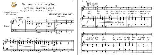First Additional product image for - Su,venite a consiglio, Medium-High Voice in G Major, A.Scarlatti. For Soprano, Tenor.  Tablet Sheet Music. A5 (Landscape). Schirmer (1894)
