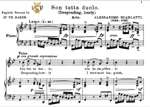 Son tutta duolo, Low Voice in G Minor, A.Scarlatti. For Contralto, Bass. Tablet Sheet Music. A5 (Landscape). Schirmer (1894) | eBooks | Sheet Music