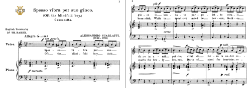First Additional product image for - Spesso vibra per suo gioco, Low Voice in A Minor, A.Scarlatti. For Contralto, Bass, Countertenor. Tablet Sheet Music. A5 (Landscape). Schirmer (1894)