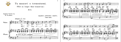 First Additional product image for - Tu mancavi a tormentarmi, High Voice in C Minor, M.A.Cesti. For Soprano, Tenor. Tablet Sheet Music. A5 (Landscape). Schirmer (1894)