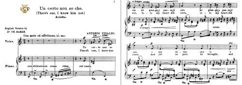 First Additional product image for - Un certo non so che, Medium Voice in A Minor, A.Vivaldi. For Mezzo,Baritone. Tablet Sheet Music. A5 (Landscape). Schirmer (1894)