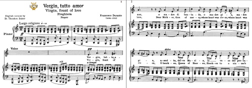 First Additional product image for - Vergin, tutto amor, Low Voice in A Minor, F.Durante. Transposition for Low Voice. For Contralto, Bass. Tablet Sheet Music. A5 (Landscape). Schirmer (1894).