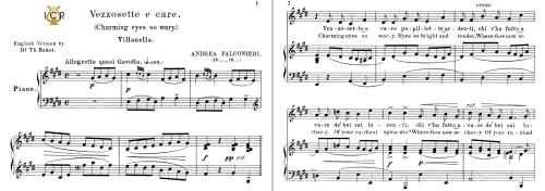 First Additional product image for - Vezzosete e care pupillette, Medium-Low Voice in E Major, A.Falconieri. For Mezzo, Baritone. Tablet Sheet Music. A5 (Landscape). Schirmer (1894)