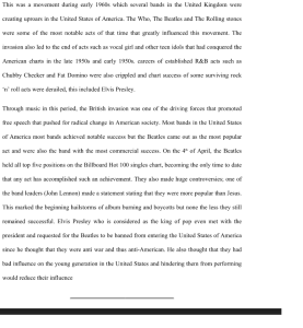 The British Invasion of Music 3 pages | Documents and Forms | Research Papers