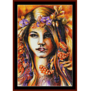 Autumn Girl - Fantasy cross stitch pattern by Cross Stitch Collectibles | Crafting | Cross-Stitch | Wall Hangings