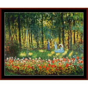 Artist's Family in the Garden - Monet cross stitch pattern by Cross Stitch Collectibles | Crafting | Cross-Stitch | Wall Hangings