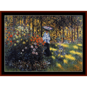 Woman with Parasol in Garden - Monet cross stitch pattern by Cross Stitch Collectibles | Crafting | Cross-Stitch | Wall Hangings