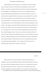 Billie Holiday Whitney Houston Research Paper 2 pages | Documents and Forms | Research Papers