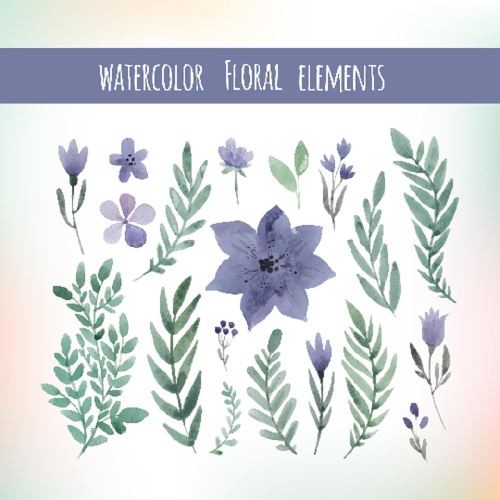 First Additional product image for - Watercolor floral elements set, floral invitation elements, flower clip art, make your own watercolour wreaths and bouquets, PNG watercolor