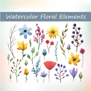Watercolor floral elements set, make your own watercolor wreaths and bouquets, watercolor floral invitations, watercolor set, watercolor art | Other Files | Graphics