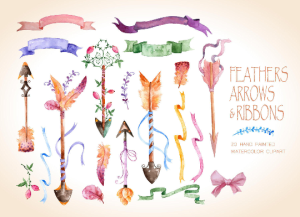 watercolor arrows, feathers and ribbons, rustic watercolor elements, vintage watercolor elements, boho watercolor elements, arrows clipart,