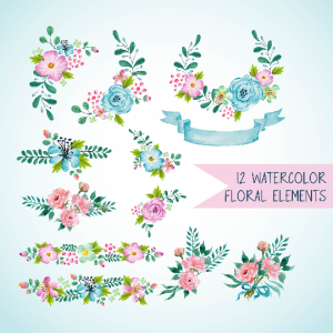 12 light blue and light pink watercolor floral elements, blue watercolor wreath and bouquets, pink watercolor wreath and bouquets, floral